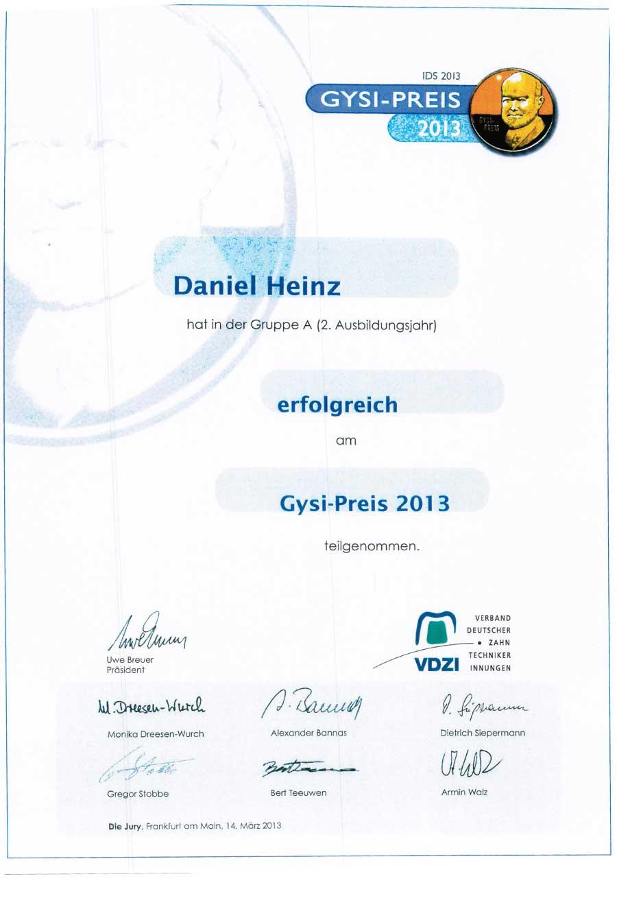 Gysi Preis für Daniel Heinz