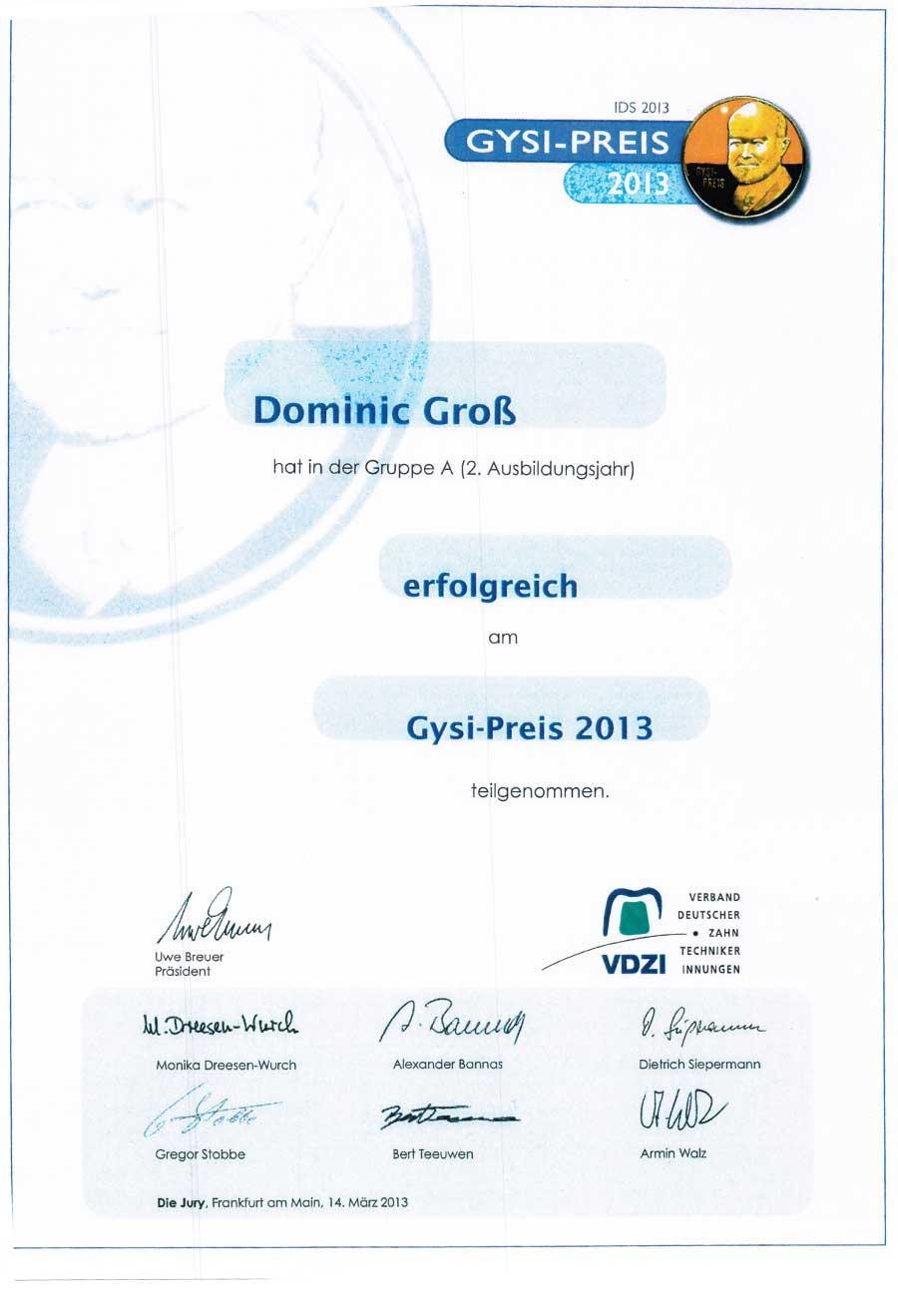 Gysi Preis für Dominic Groß