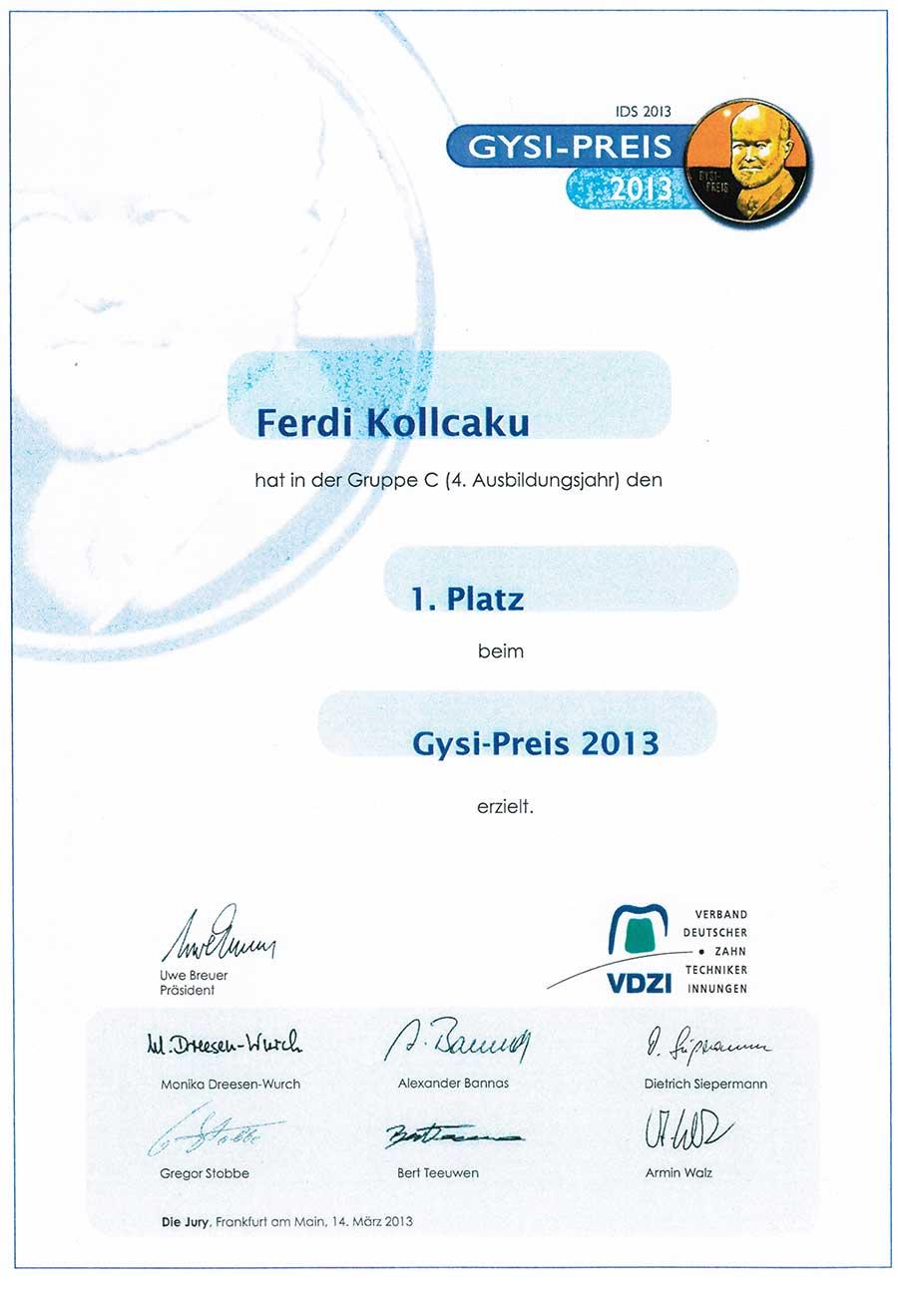 Gysi Preis für Ferdi Kollcuka